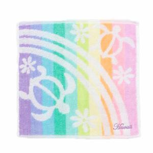 ホヌとレインボーデザインハンドタオル ハワイアンミニタオル カメ 綿100%|seashells-zakka