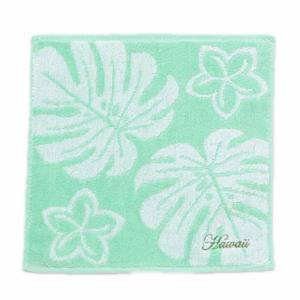 モンステラのデザインミニタオル ハワイアンデザインハンドタオル 綿100% お手拭き|seashells-zakka