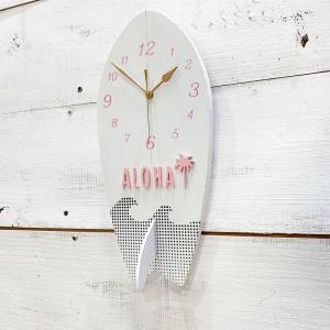 サーフボード型ウッド時計 壁掛け ハワイアンウォールクロック 木製 サーフィンボード カリフォルニアインテリア seashells-zakka