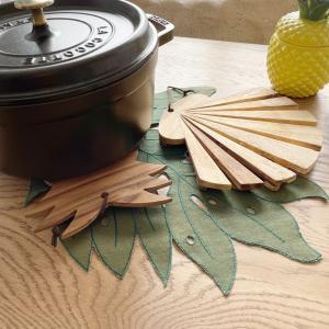 シェルの鍋敷き 木製キッチン雑貨 おしゃれインテリア ハワイアン seashells-zakka