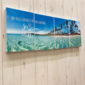 キャンバスパネルM 海の写真 ヤシの木 ハワイアン カリフォルニアスタイル ホヌ 大きめ|seashells-zakka