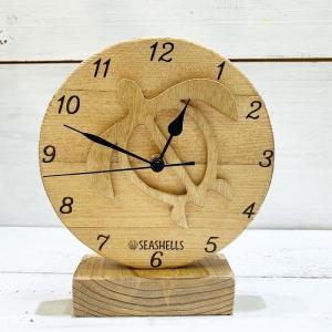 ウッドスタンド時計 木製ハワイアンデザイン ホヌ 海亀 卓上ミニサイズクロック 小さめ置き時計 seashells-zakka