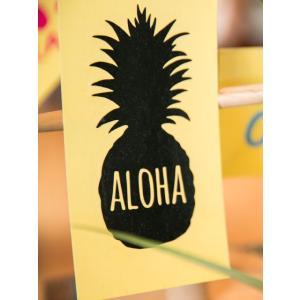 パイナップルのステッカー ハワイアンシール ALOHAロゴシルエット 車 撥水 南国 抜き|seashells-zakka