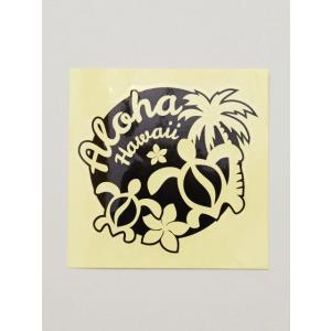 ホヌの親子のステッカー 抜型タイプ ハワイアンシール ALOHAロゴ ヤシの木 車 撥水 |seashells-zakka