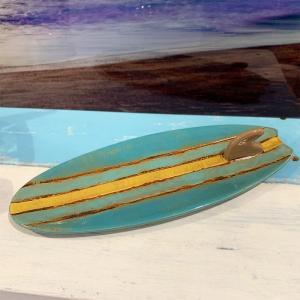 サーフボード型デザインプレート おしゃれなカリフォルニアスタイル雑貨 ブルー seashells-zakka