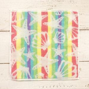 グラデーションハンドタオル シェル&ヒトデ柄ジャガード織りレインボー おしゃれなハワイアンデザイン プレゼント|seashells-zakka