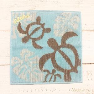 ホヌ&モンステラ ジャガードハンドタオルスカイブルー ハワイアンデザイン プレゼント|seashells-zakka