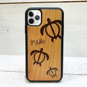 iphone用ウッドケース ホヌの親子デザイン ハワイアン柄 衝撃吸収タイプ 木製 カメ|seashells-zakka