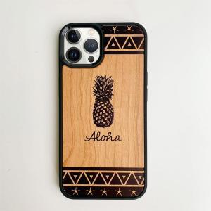 iphone用ウッドケース パイナップル柄 ハワイアン柄 衝撃吸収タイプ 木製 南国フルーツ|seashells-zakka