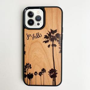 iphoneウッドケース やしの木 ハワイアン 衝撃吸収タイプ 木製 南国 パームツリー|seashells-zakka