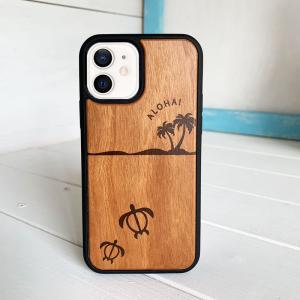 iphoneウッドケース 衝撃吸収 木製 ハワイアンデザイン ホヌ ウミガメ 海亀 ヤシの木|seashells-zakka