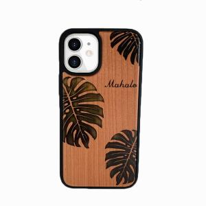 iphoneウッドケース 衝撃吸収 木製 ハワイアンデザイン モンステラ マハロ|seashells-zakka