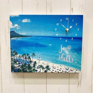 ハワイアン ウッドパネルクロック おしゃれな海の景色 ワイキキビーチ 壁掛け木製 スタンド時計 seashells-zakka