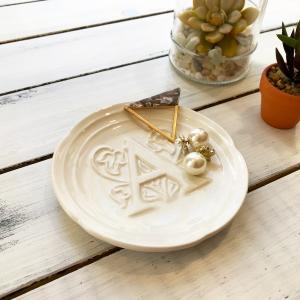 ハワイ 食器 イニシャルプレート 小皿  アクセサリーディッシュ 直径 13cm  ホワイト アルファベット seasky
