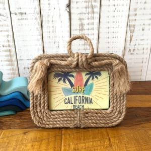 ハワイ 雑貨 フレーム フォトフレーム ロープ 置き型 写真立て ビーチインテリア 西海岸  横型 seasky