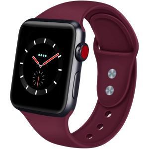 AIGENIU コンパチブル Apple Watch バンド、2個留め具のシリコン柔らかいスポーツ ...