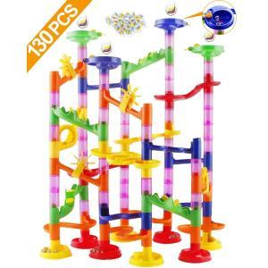 Tebrcon ビーズコースター 知育玩具 スロープ ルーピング セット 子供 組み立て ブロック ...