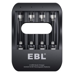 EBL 電池充電器 急速充電器 単三単四ニッケル水素 1-4本まで単三/単四型充電池対応 USB入力...