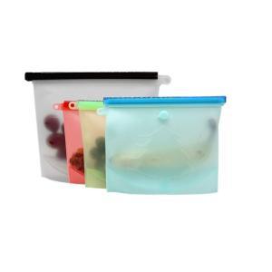 【新設計】再利用可能なシリコン食品保存バッグ 密閉シール食品貯蔵 スープソース密閉冷凍庫 フルーツ用...