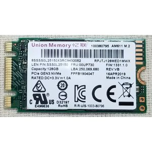 NVMe 128GB 2242 SSD Union Memory Lenovo純正品 M.2 PCI...