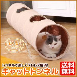 キャットトンネル 猫用  おもちゃ 柔らか素材 自立型 2穴付き 誘い玉付き 猫トンネル カシャカシ...