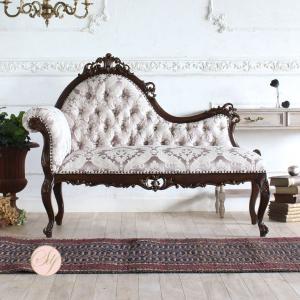 ロココスタイル カウチソファ 幅140cm ピンクダマスク柄 1048-5f68bの写真