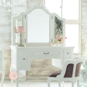 3面鏡 ドレッサー アンティーク ロココ 姫 猫脚 化粧台 ロマンチック エレガントの写真