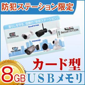 USBメモリ 8GB 【メール便】防犯ステーション オリジナル USB メモリ スタイリッシュ 名刺型 カードタイプ シンプル おしゃれ コンパクト 財布で持ち運び|secu