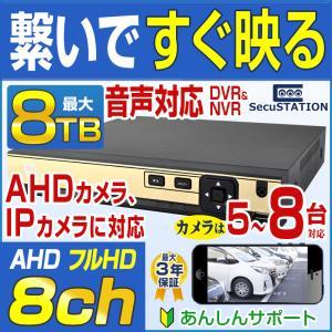 防犯カメラ ネットワークカメラ 用HDD レコーダー 8TB 対応バレット ドーム ボックス SC-XA82 8ch|secu