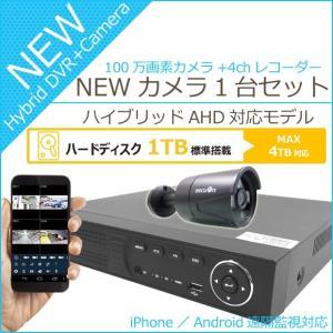 遠隔監視にも対応!『2017NEWバージョン』【HDD1TB搭載】【100万画素】4chデジタルレコーダー+3.6mm広角赤外線防犯カメラ1台 日本語表示 監視カメラセット|secuon