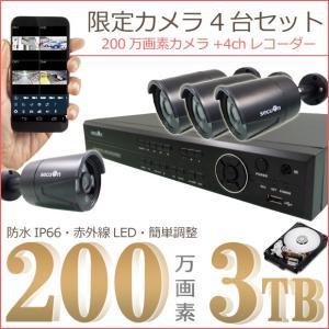 『HDD3000GB標準装備』デジタルレコーダー+3.6mm広角赤外線防犯カメラ4台 特別限定セット 【secuOn】