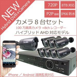 【100万画素対応】720P画質&音声録音対応 8chデジタルレコーダー(録画装置)+3.6mm広角赤外線防犯カメラ8台 日本語表示 監視カメラセット 【secuOn】