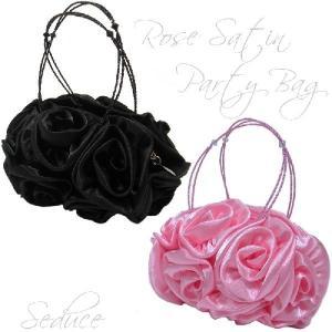 SALE パーティーバッグ ローズサテンミニバッグ持ち手ビーズ  小 (ピンク・ブラック)|seduce