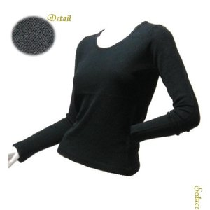 丸首ニットセーター シンプルラウンドネックブラック長袖|seduce