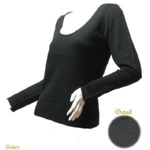 長袖ニット 深ラウンドネックブラック長袖セーター薄手|seduce