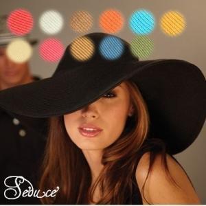 SALE つば広帽つば大帽子ガーデンハット女優帽エレガント日焼け防止ブラックホワイトキナリブルーブラウンコーラルピンクカーキSeduce|seduce