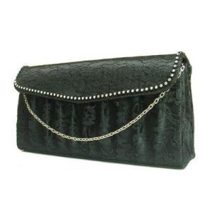 SALE クラッチバッグサテン×レース素材ラインストーン付きゴージャスミニバックブラック黒色Seduce|seduce