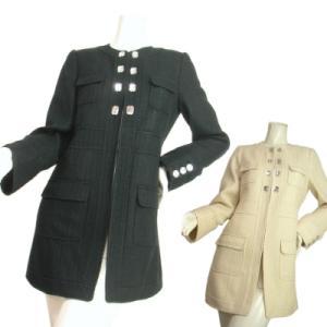 ドレスコートラメ入りツイードノーカラー襟なしキラキラビジュー付きセレブ風上品コートブラックオフホワイトSeduce|seduce