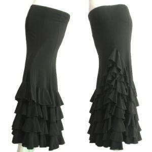 ロングスカート中世のお姫様風ティアードフリルたっぷりとした裾周りでゴージャス。ダンスやフラメンコパーティー舞台ブラック黒色Seduce|seduce