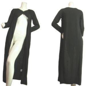 ロングカーディガンシンプルノーカラーノーボタン羽織るだけでカッコよく着こなせますセレブ風ブラック黒Seduce|seduce