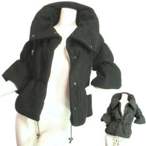 七分袖ベルスリーブくるくるモールツイードジャケットボリューム立ち襟豪華ブラックチャコールグレーSeduce|seduce