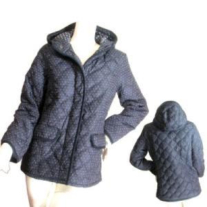 ジャンパージャケットブルゾンネイビードット中綿入りフード付きZIPパーカー山ガールキルトSeduce|seduce