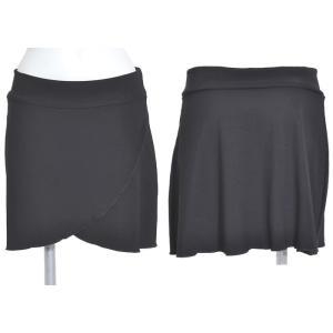 オーバースカートミニスカートフロント前合わせチューリップ型ダンスヨガランニングにも黒ブラックSeduce|seduce