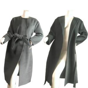 ノーカラーロングコートガウンコートバスローブ型襟なしボタンなしシンプルシルエットグレーブラックSeduce|seduce