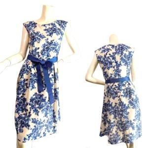 ブルー花柄ベルトリボンフレンチスリーブワンピースフレアひざ丈 上品エレガントフェミニンSeduce|seduce