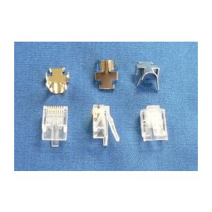 CAT.6ALAN用プラグ 10個 取り付け作業が簡単な2ピースタイプ 丸ケーブル用  芯線径 23...