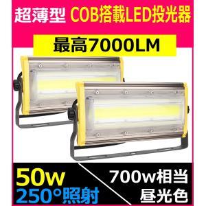 2台セット LED投光器 50w 屋外用 集魚灯  LED 投光器 スイッチ付き 防水 作業灯 看板...