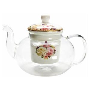 ポットのガラスから見える茶こしのバラ柄がとてもオシャレ!!目でも楽しめるポットです。 生産国:中国 ...