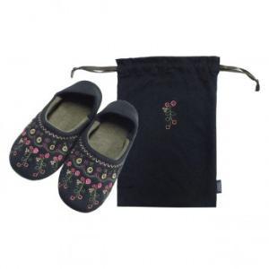 トラベルスリッパ 巾着付き 花の刺繍 ブラック AM38005-BK(A&B)(送料込み)