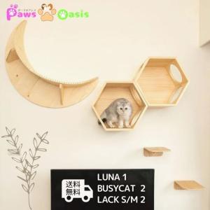 MYZOO「キャットウォークセット」六角ハウス×2個 + LUNA + ラック(サイズ選択)×2個 天然木 木目柄 パイン無垢材 猫家具 壁面取付 ナチュラル|sefety-shop